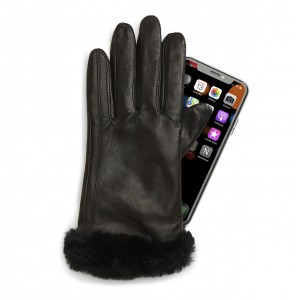 Genuine Shearling Trim Sheep Leather Tech Gloves