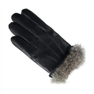 Mens winter style fur lined black leather gloves