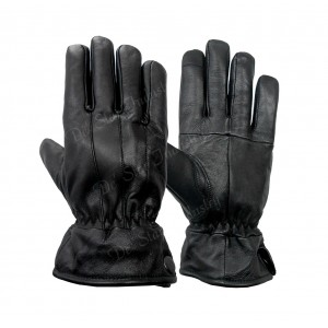 Black soft sheep CP leather dressing gloves