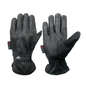 Men's Luxury Black Leather Gloves with Strap