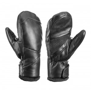 Real sheepskin Leather Black Winter Mittens